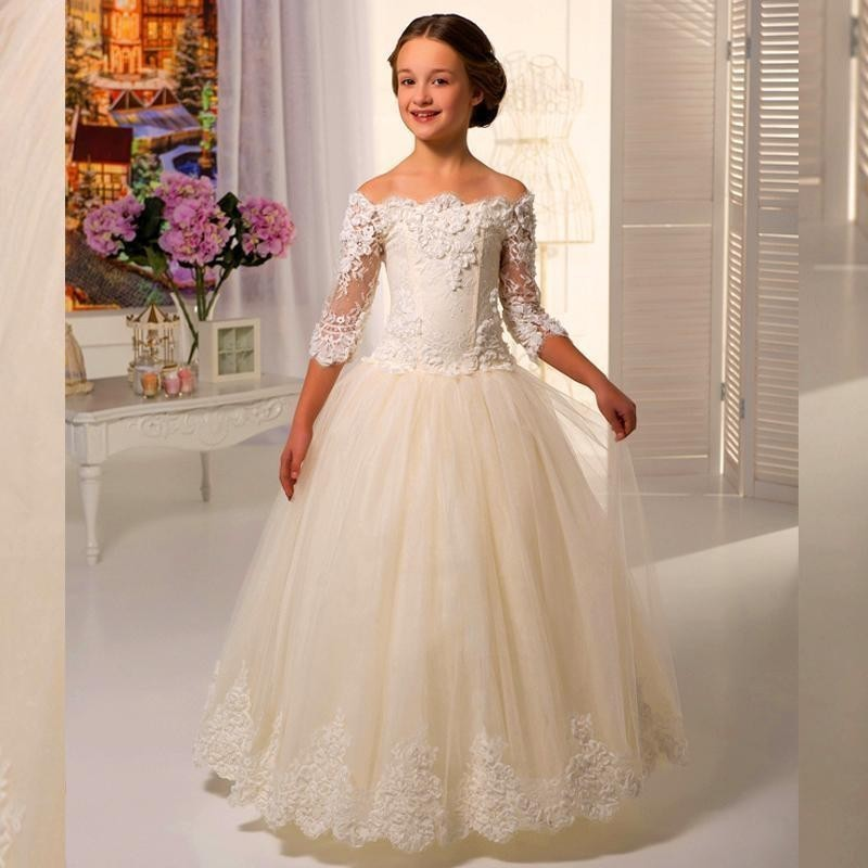 Three Quarter Sleeves Ivory Ball Gown   Flower     Girl     Dresses   2019 Boat Neck Appliques Little Bride   Dress   For Wedding Party M1564