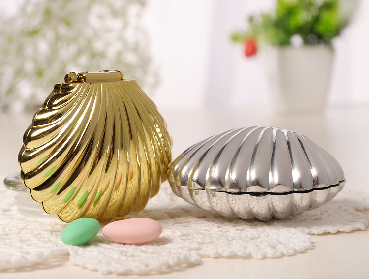 Free Shipping 10 X Gold/Silver Shell Shaped Candy Box Wedding Gift Box Kids Birthday Party Baby Shower Deco Supply