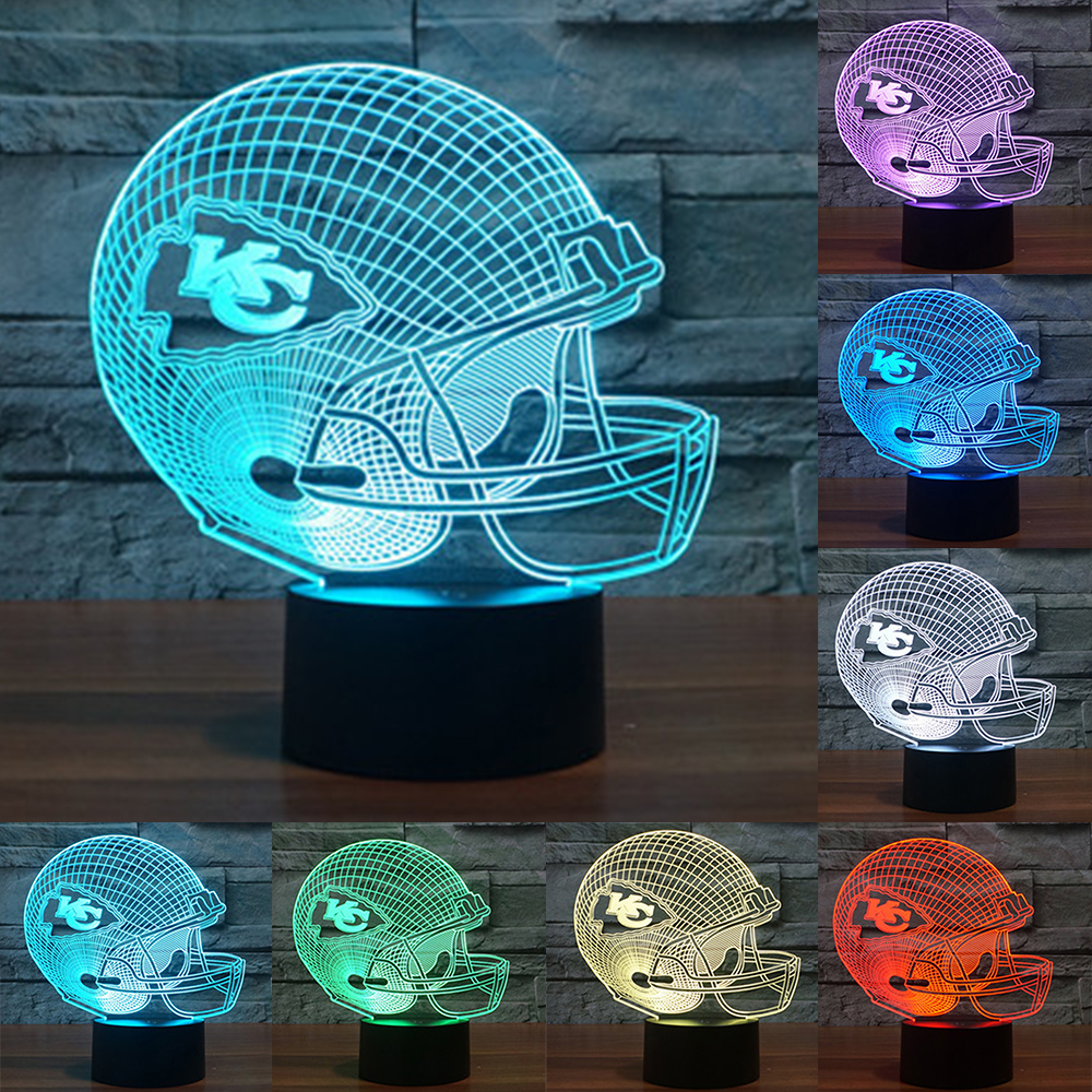 NFL Kansas City Chiefs lamparas 3d led 7 Colors Change Football Helmet LED Table Lamp Creative Home Table Desk Decor IY803668