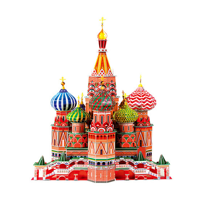 ФОТО 173pcs/lot 3D Model Puzzles Paper Assembled Toys Paper DIY Assumption Cathedral Building Model Puzzle 3D  for Children 2Set