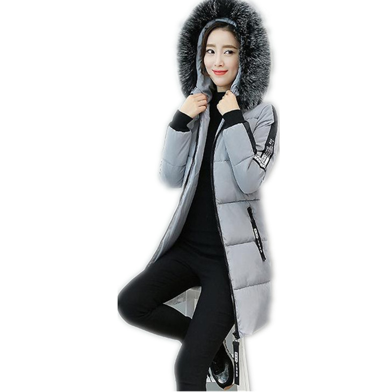 2017 Winter New Women Down Cotton Jacket Coat Women Winter Thicken Hooded Fur Collar Cotton Outerwear Coat Parka Hot Sale CQ198 2016 winter jacket women down coat fur hooded vest down coats vest pant underwear women s suit thicken set outerwear trousers