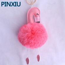 PINXIU Fashion Women Bag Pink Flamingo Key Chain Ring Nice Purse Keychain Key Holder Charm Handbag Car Pendant Accessories YSK12
