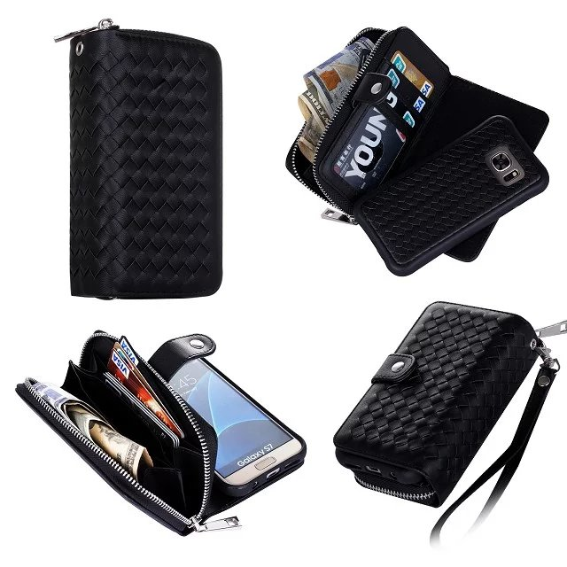 sale retailer d02a9 cdc61 US $13.49 |Multi Function Woven Grain 3 Slot S7 Edge Wallet Case Money  Pocket For Galaxy S4 S5 S6 S6 Edge Plus S7 Note 4 5 Removable Cover-in  Wallet ...