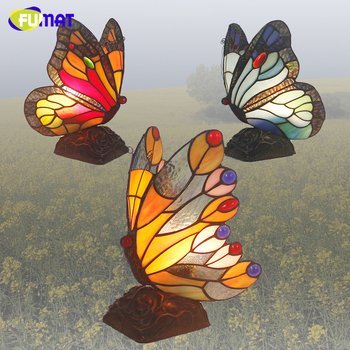 FUMAT Butterfly Table Lamp Stained Glass Tiffanylamp For Living Room Bedside Lamp Decor Art Glasss Table Light Fixtures