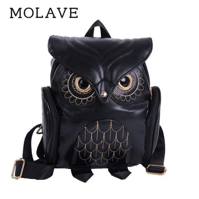 MOLAVE Backpack women backpack Solid School Bag For Teenager Girls pu leather Fashion Cute Owl Backpacks Cartoon bags May16