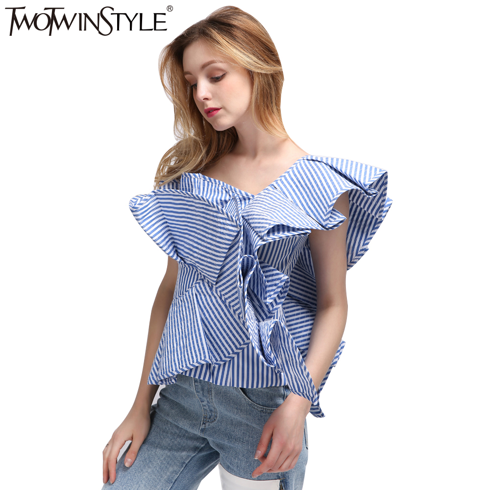 [TWOTWINSTYLE] Sexy Off Shoulder Striped   Blouse     Shirt   2017 Summer Ruffle Bodycon Women   Blouses   Sleeveless Tops Fashion Clothing