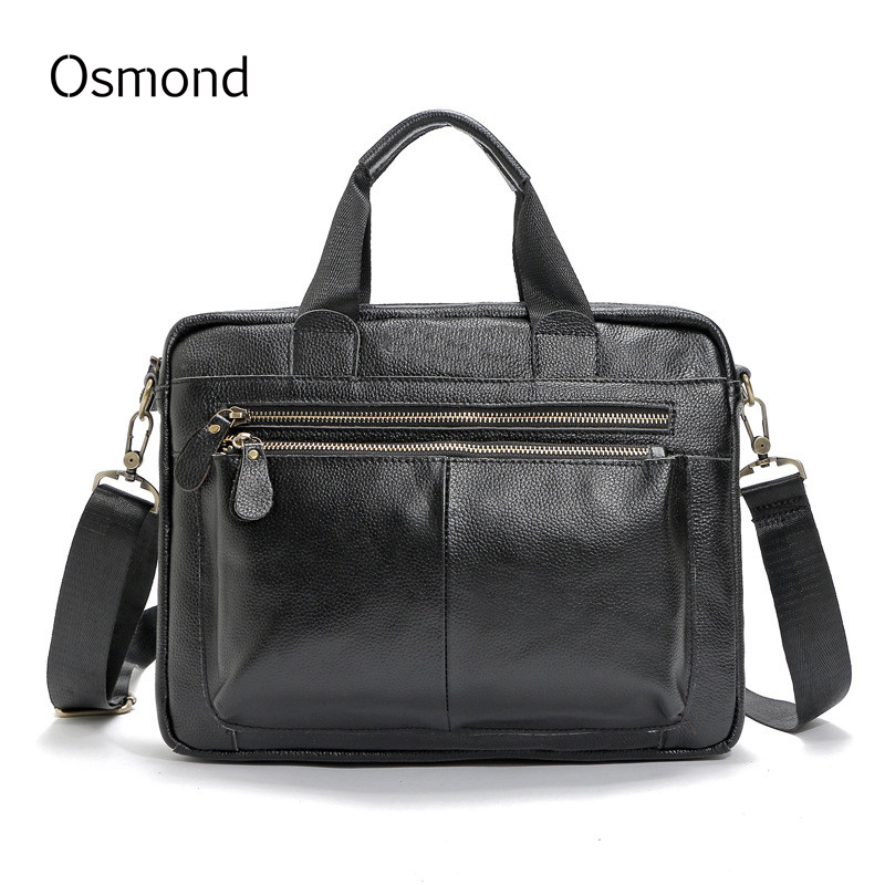 Osmond Genuine Leather Laptop Bag Men Totes Casual Man Handbags Crossbody Messenger Bags Business Briefcase Shoulder Bag 2017 genuine leather men bag fashion messenger bags shoulder business men s briefcase casual crossbody handbags man waist bag li 1423