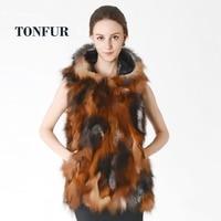 New Arrival Real Fox Fur Vest With Hood Fashion Factory Export Nature Fox Fur Gilet Women Fox Fur Waistcoat Hoody DNT399