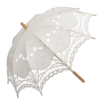 New 26 Long Cotton Embroidery Lace Umbrella Parasol Romantic Wedding Accessory Sun Umbrella Bridal Photograph White
