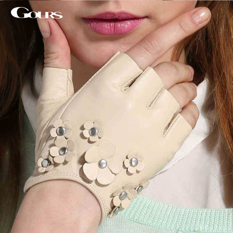 Gours قفازات جلدية حقيقية للنساء خريف 2018 جديد أزياء ماركة السيدات الأبيض أصابع القفازات المبطنة قفاز الماعز GSL026