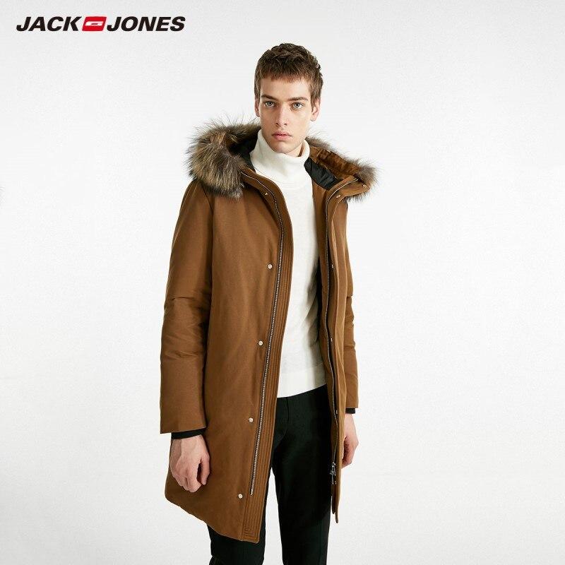 Chaqueta larga con capucha y cuello de piel de zorro de invierno para hombre JackJones abrigo largo para hombre 218412518-in Plumíferos from Ropa de hombre    1
