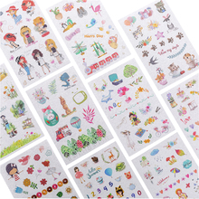 6sheets/pack kawaii cartoon adhesive sticker DIY album decoration stickers student diary stationery label