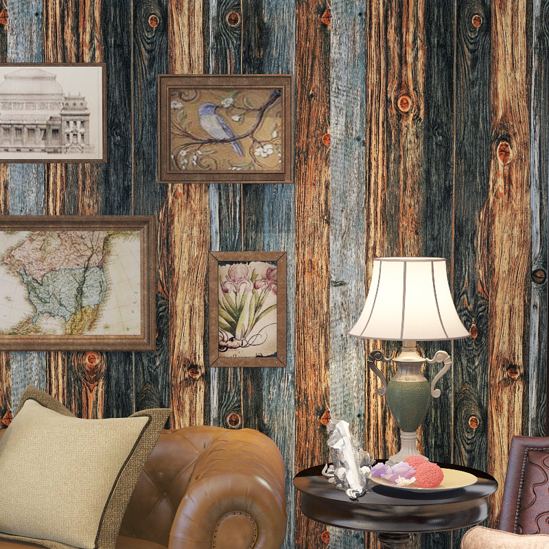 Wood Panel Wallpaper Blue Brown Painted Wood Grain Effect Shabby Chic Vintage Feature Wall Paper Bedroom Living Room Home Decor