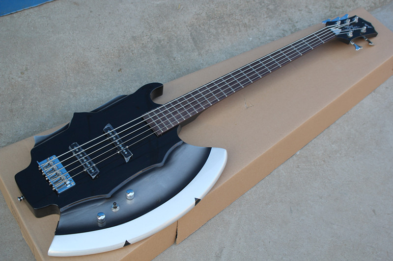factory wholesale 5 string axe electric bass guitar with rosewood fingerboard chrome hardwares. Black Bedroom Furniture Sets. Home Design Ideas