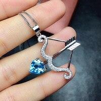 Naturalny niebieski topaz gem wisiorek S925 srebrny Naturalny kamień Wisiorek Naszyjnik Romantyczny serce Amora strzałka kobiety party biżuteria