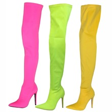 women over the knee boots stretch fabric lady pointed toe thin high heel fashion boot walking show shoes size 34-44