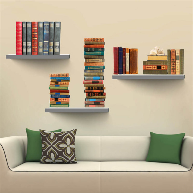 Creative Fake Books Bookshelf 3D Wall Stickers Removable DIY Living Room Bedroom Sticker High Quality