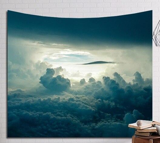 CAMMITEVER Disco Volante Fantastic Notte Stellata Copertura Cave Foresta Albero di Montagna di Neve Arazzo Da Parete Appeso A Casa di Arte