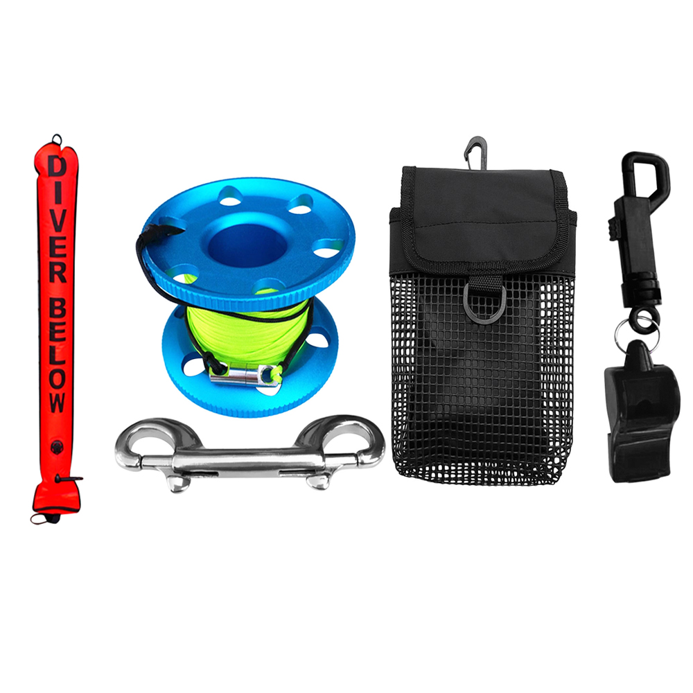 Perfeclan Scuba Diving SMB Surface Marker Buoy+Finger Spool+Whistle+Pouch Buoy Marker Dive Reel Whistle