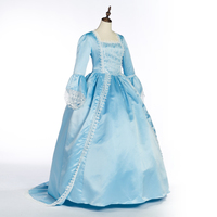 Sky Blue Women's Gothic Gown Velvet & Silk like Halloween Witch Cosplay Costume Dress Plus Size