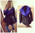 2016 New Fashion Women's Down Jacket Parka Cloaks European Designer Asymmetric Length Hooded Anorak Winter Coat Female w-050