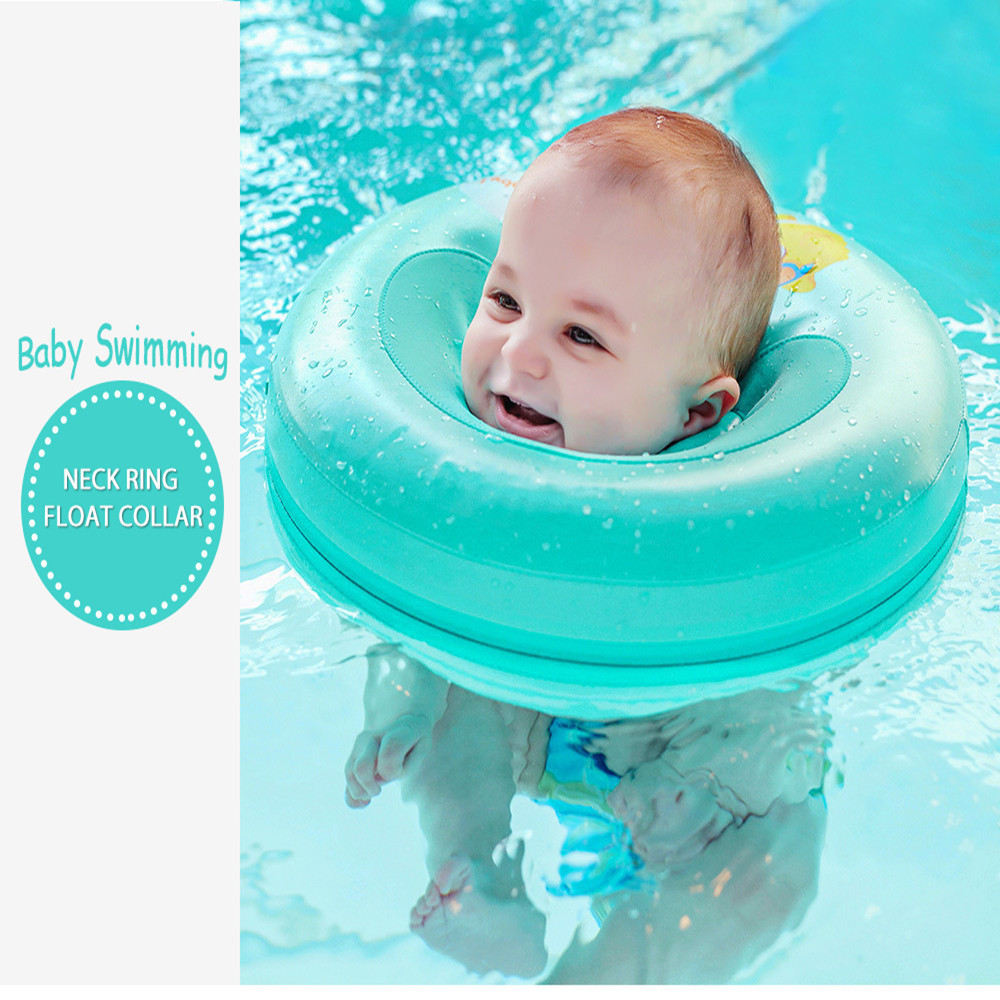 Mambobaby Newborn Baby Swimming Neck Ring Swimming Pool Accessories Thickened Inflation-free Infant Circle Newborn Swim Trainer