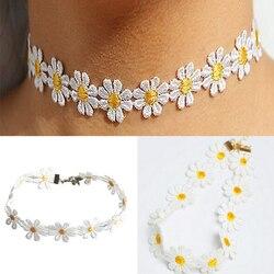 Yeni 1 Adet Sarı ve Beyaz Papatya Çiçek Gerdanlık Zincir Kolye Bilezik Bandı Boho Güzel Dövme Gerdanlık Kolye Kadınlar Takı