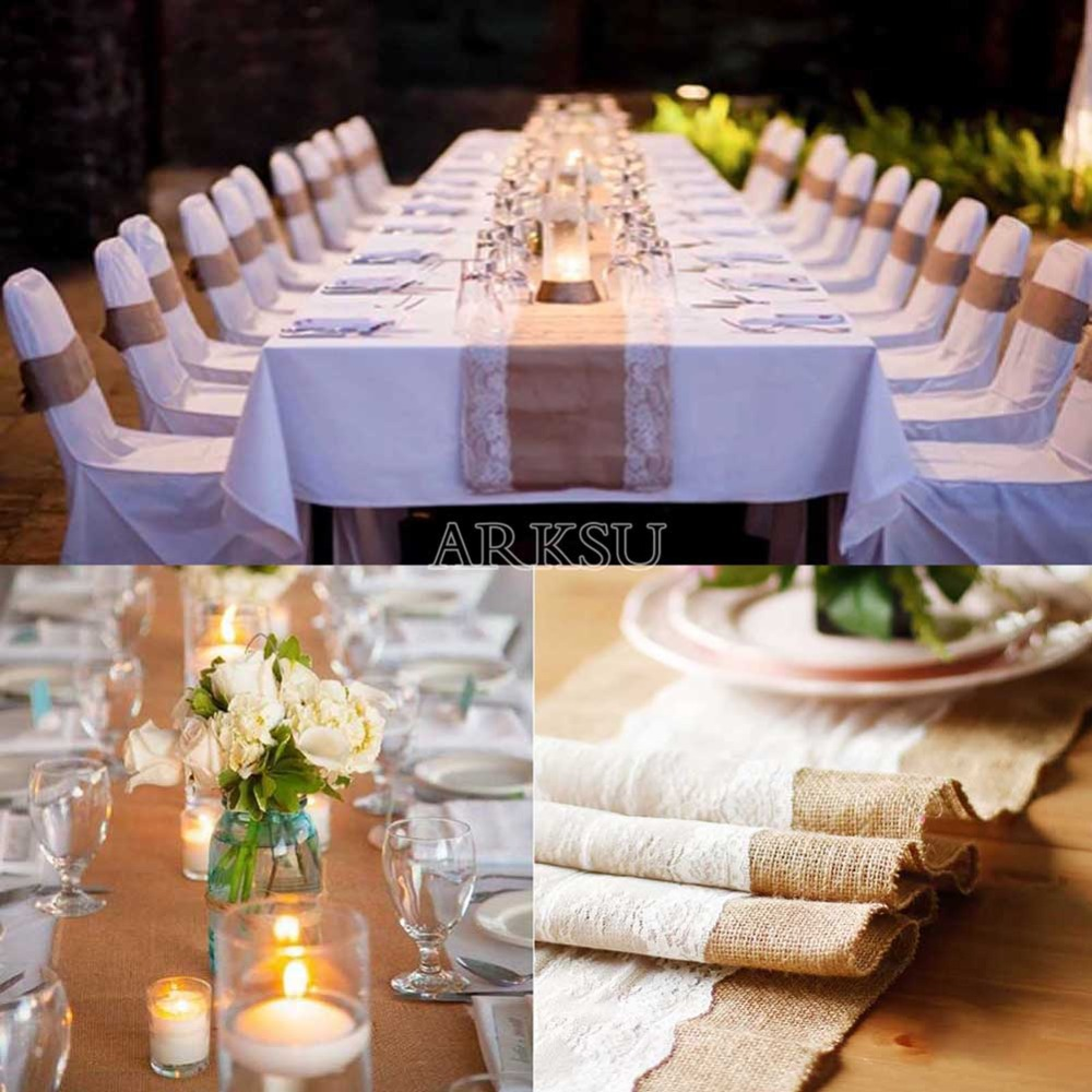 10pcs 12x108 Inch Elegant White Burlap Table Runner Natural Table Runner  Modern Lace For Wedding Party Table Deco In Table Runners From Home U0026  Garden On ...