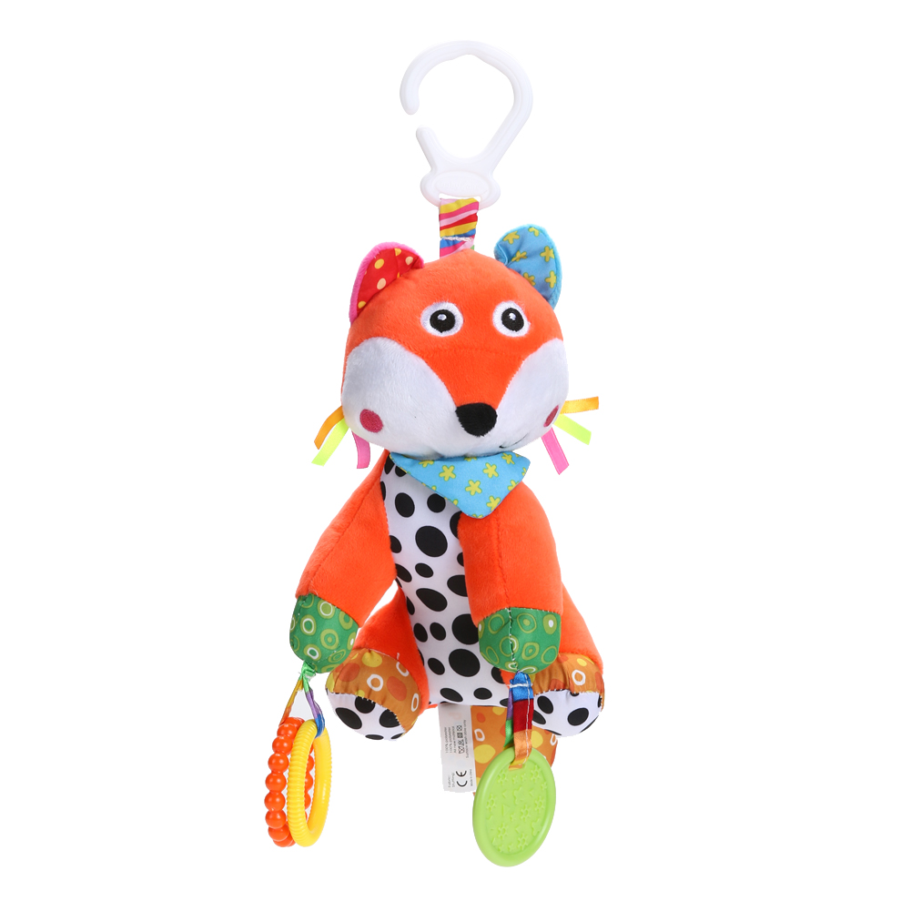 Lovely Cartoon Plush FoxBaby Rattle Toy Crib Stroller Hanging Doll with Teether Educational Musical Infant Graspe Doll Toy