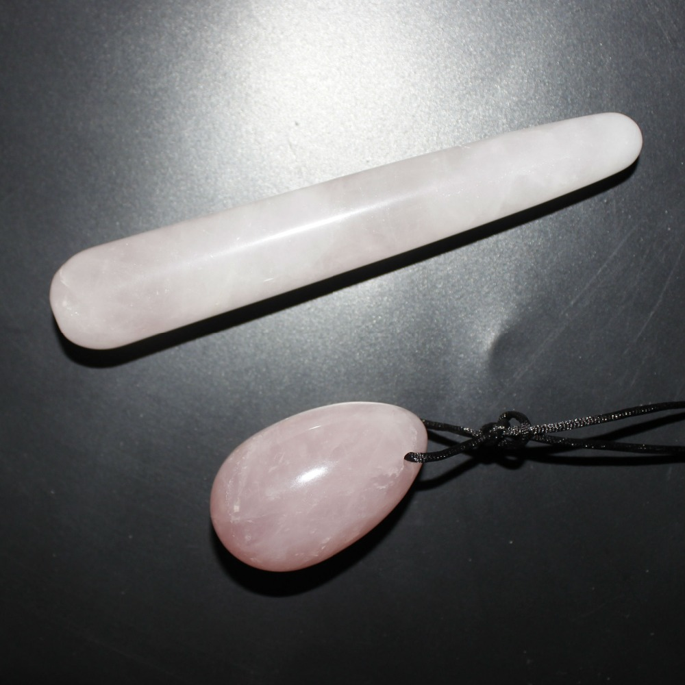 natural pink quartz jade egg and wand massage stick beauty massage wands for body health massager yoni wand