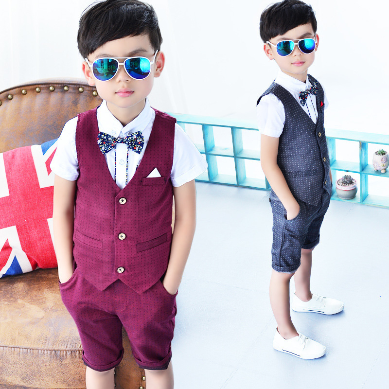 4acc1a9249fa3 US $29.9 |2017 Summer Children Vest Suits Sleeveless Top + Shorts + Shirts  3Pcs child Prom Suits Wedding Flower Girl dress Baby BOY Sets-in Clothing  ...