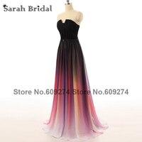 Strapless Black Long Evening Dresses 2015 Hot Sale Sexy Backless Gradient Dress Prom Gowns Vestidos De