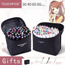 TOUCHFIVE touchnew, 60 цветов в наборе, белые маркеры, маркер для граффити, ручки на спиртовой основе, двойные кончики, скетч маркеры для дизайна рисунка