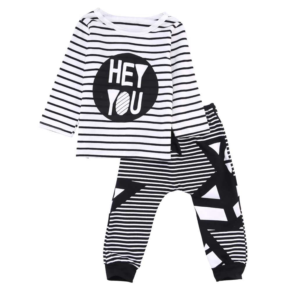2017 Casual baby boy clothes Sets Long Sleeve Boys Striped T-shirt + Raindrop Pants Long Trousers bebes Newborn Infant Clothing