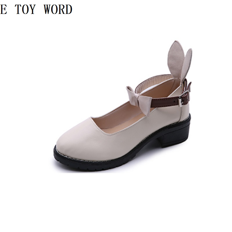 Lovely round head leisure fashion 2018 female students in the joker with college female Japanese soft sister small leather shoes qiu dong season with plush slippers female students in the summer of 2017 the new han edition joker fashion wears outside a word