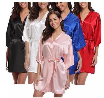 Women's Satin Pajamas Bathrobe Nightgown Wedding Kimono Bride Robe Sleepwear Bridesmaid Robes