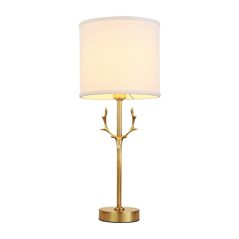 Nordic настольные лампы Рога дизайн модели Рединг исследование свет ночные огни ткань абажур домашнего освещения все медный свет стол