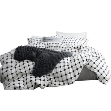 simple  100% cotton The letter printing duvet cover set black and white stripe bedding 4pcs Home Textile king Queen size