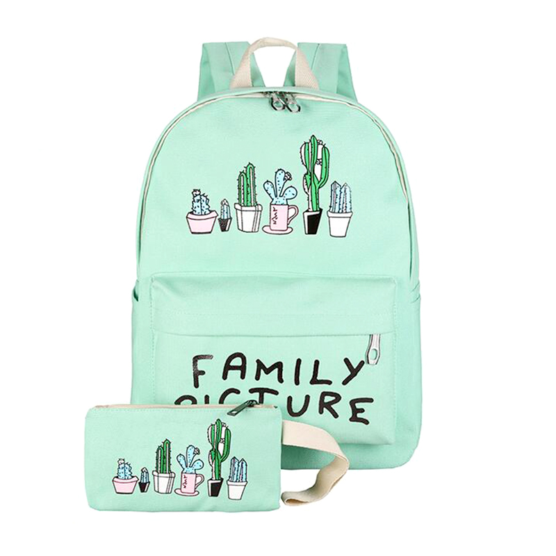 Cactus Fashion Canvas Backpack Female School Bags For Teenage Girls Mochila Escolar Women Small Backpack 20%OFF T358 hot sale 2017 new arrival bag mochila escolar backpack anime kawaii backpack mochila for teenage girls korean school bags