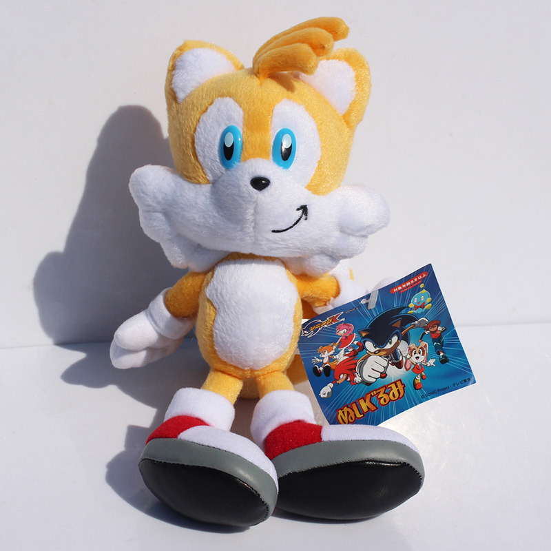Sonic the Hedgehog plush doll Yellow Fox Miles Prower sonic friend Tails soft stuffed toy with tag Free shipping 1pc 9inch 23cm