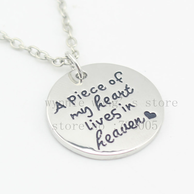 Personalized memorial jewelry a piece of my heart lives in heaven personalized memorial jewelry a piece of my heart lives in heaven miscarriage remembrance necklace aloadofball Images
