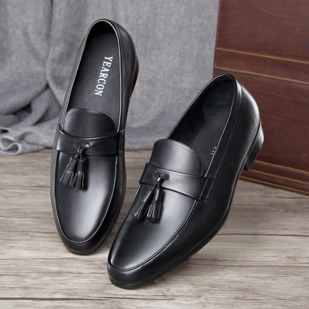 Sapatos Preto Para Dos Negócios Casuais Vestido Homens Yearcon Couro Mocassins De Sapatas BqZfXB
