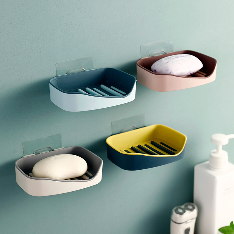Soap Rack No Drilling Wall Mounted Double Layer Soap Holder Soap Sponge Dish Bathroom Accessories Soap Dishes Self Adhesive