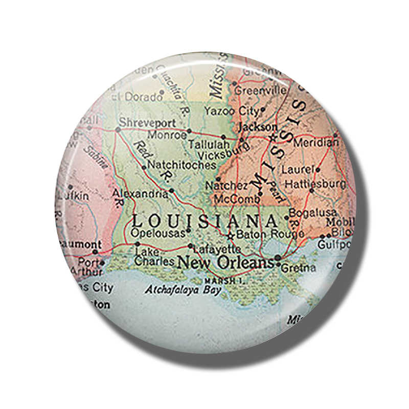 Louisiana Kaart 30 MM Magneet New Orleans Reizen Kaart Glas Cabochon Magnetische Koelkast Stickers Note Holder Home Decor