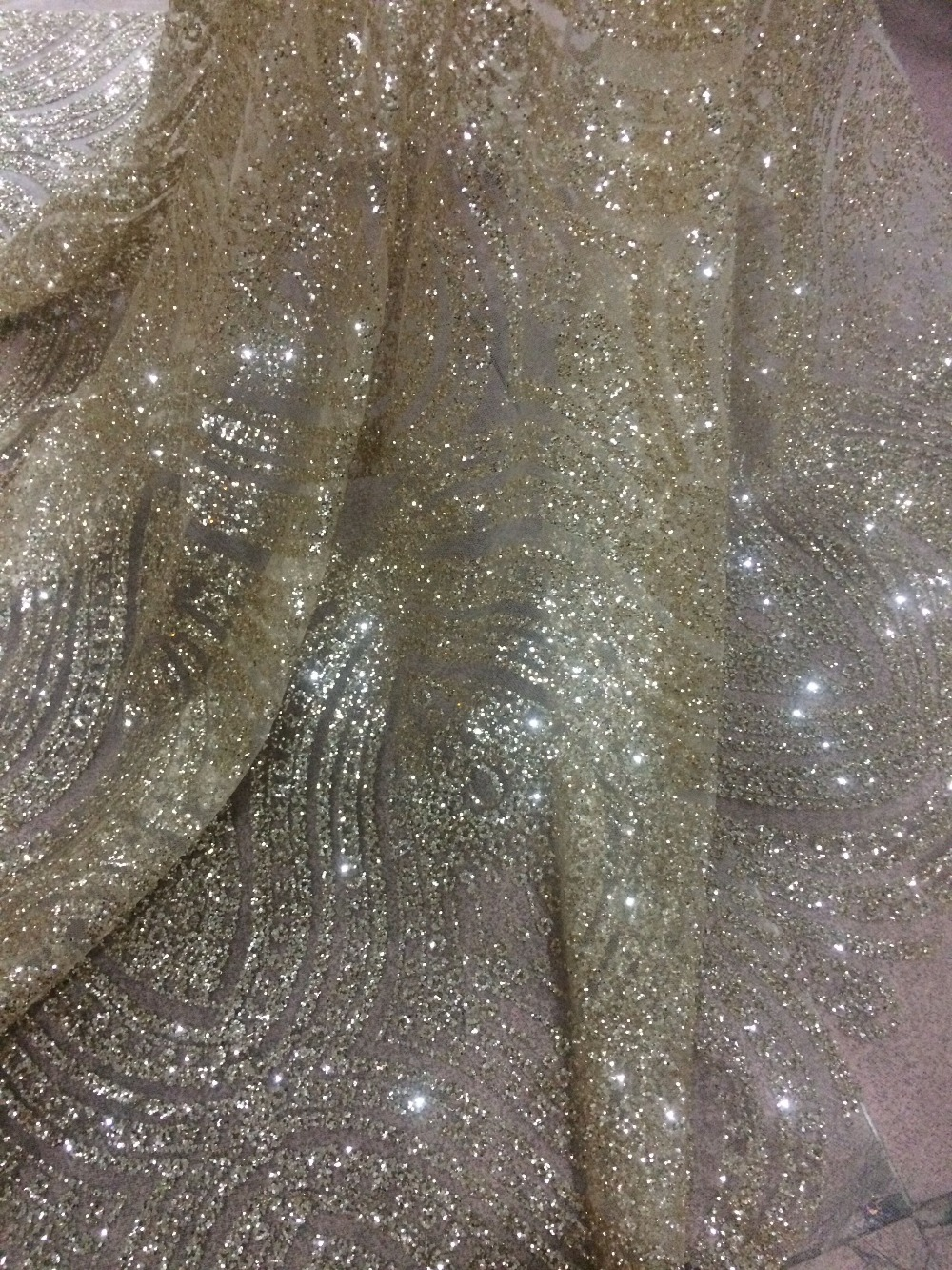 shinning 5yards pc gold glued glitter David 42932 African French net lace fabric for dress
