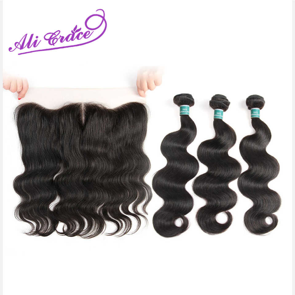 Ali Grace Hair Peruvian Body Wave With Frontal 3 Bundles With 13*4 Free Middle Part Ear To Ear Lace Frontal Remy Human Hair