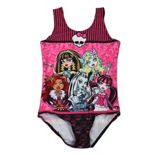 NEW 0011 Children Girl Summer cartoon Monster High Pink bowknot Skull 3D Prints One-piece Swimsuit Swimwear Kids bathing suit