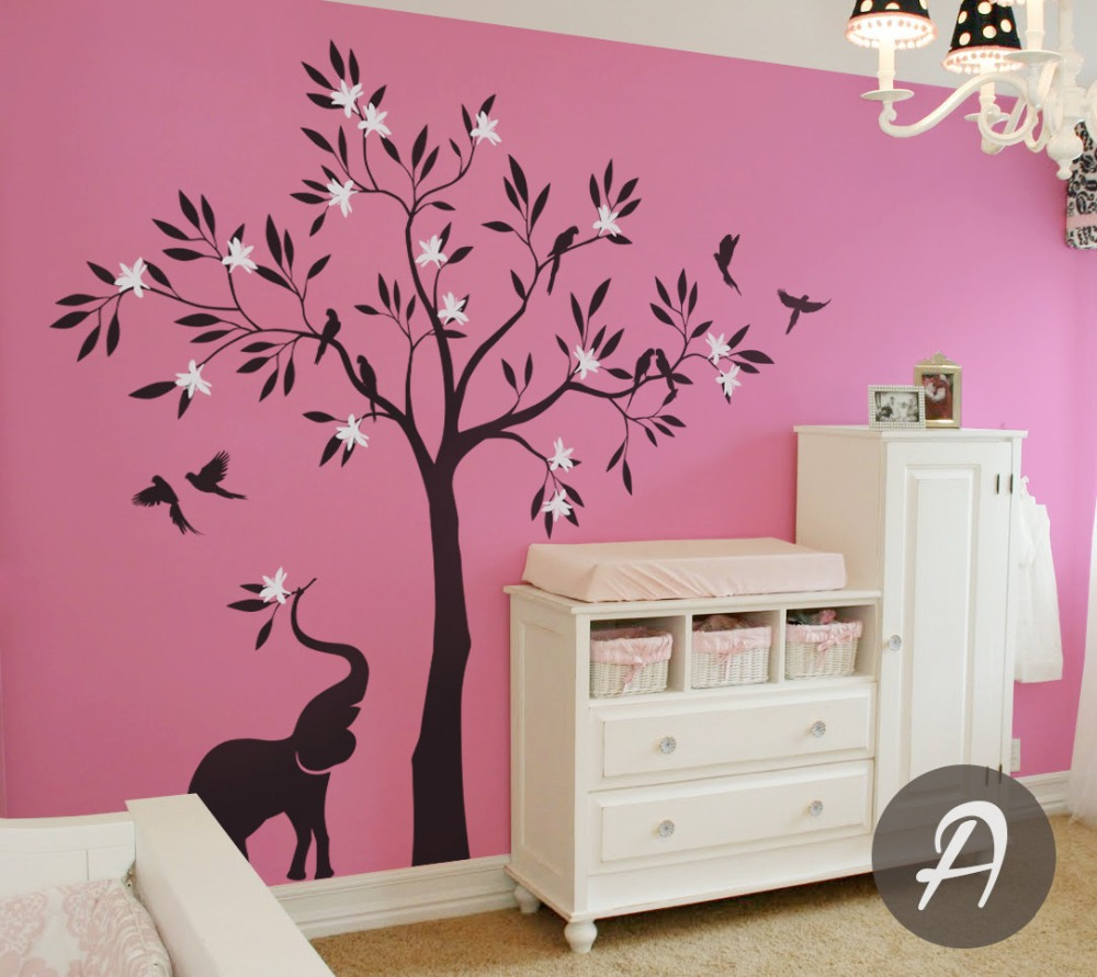 White Tree Beauty Elephant Cute Wall Mural Nursery Children Room