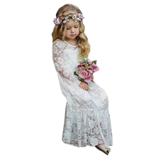 New Autumn Girls Princess Dress Long Sleeve Lace Hollow Elegant Cute Children Girls Maxi Dress Clothes Woven Solid Dress