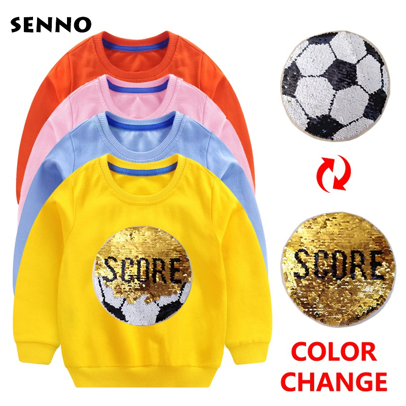 цена на Color Change Sequin Kids Outwear Boy Hoodie Children Sweatshirts Baby Boys Casual Long Sleeve Full Hoodies Baby Clothing 3-12Y